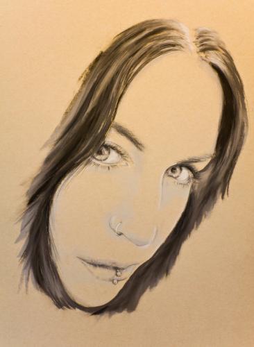 pastel noir portrait by bazzathe